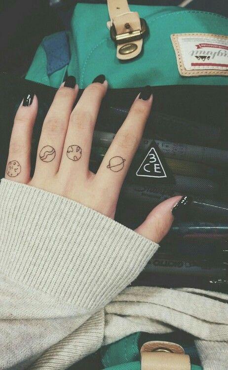Planets fingers tattoo