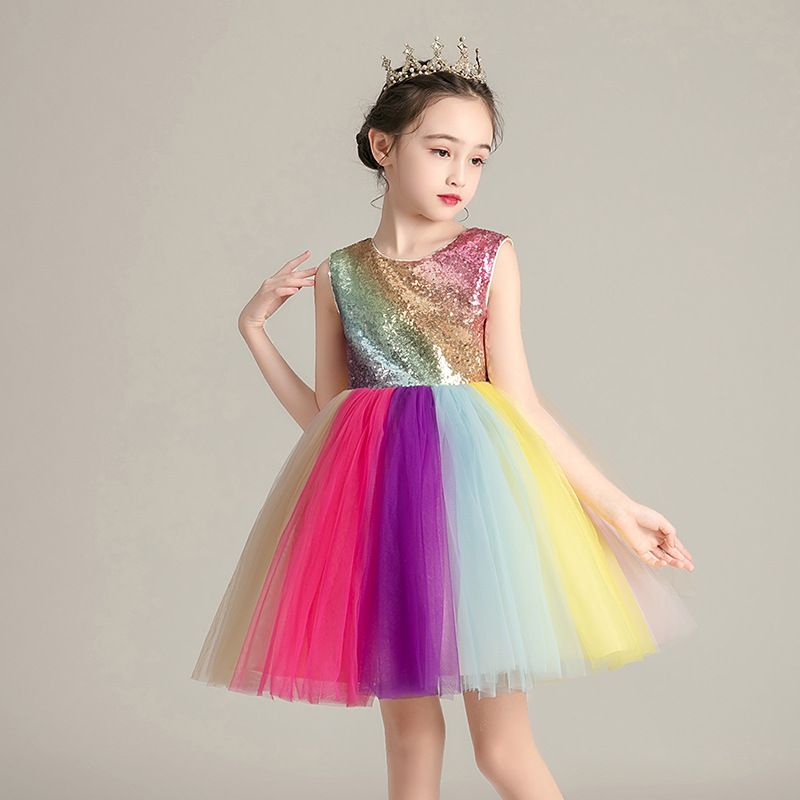 Kids Baby Girls Colorful Tulle Rainbow Princess Paillette Dress Headband Outfit