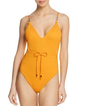 Trina Turk Womens Cabana Solids V-Plunge One Piece Swimsuit