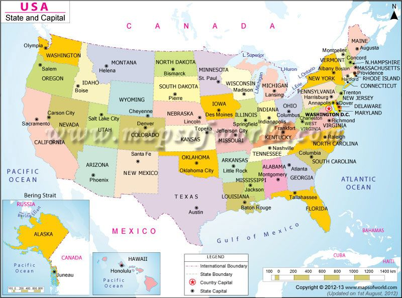 United States Map With Capital Cities.A Very Good Map To Find Out The States And Their Respective Capital