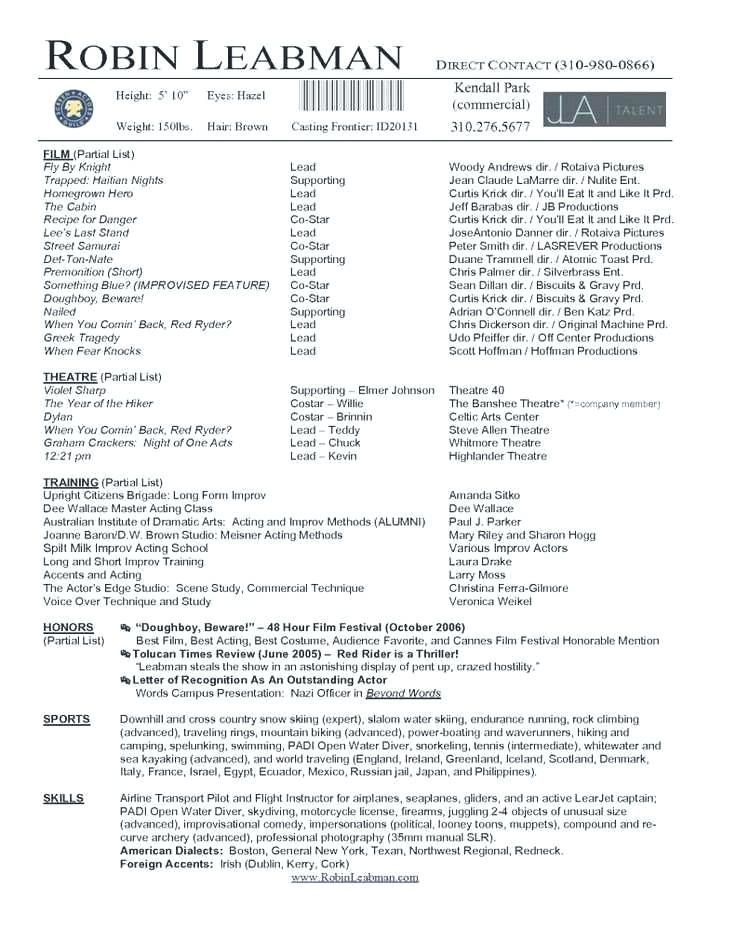 Theatrical Resume Template Resume template, Resume