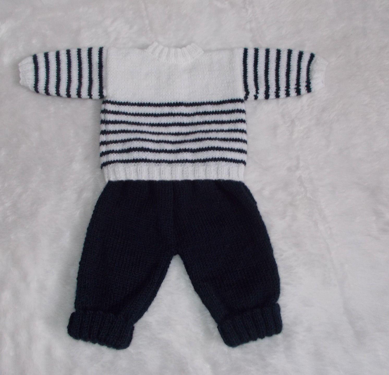 Bebe Naissance Pull Marin Et Pantalon Tricot En Laine