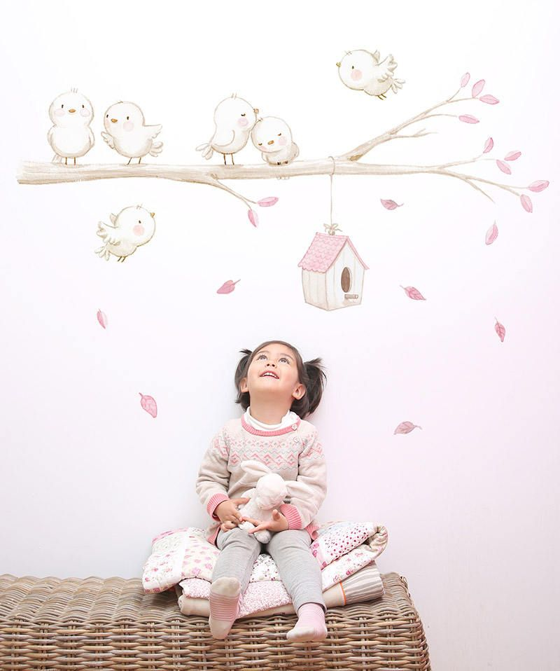 Reversible Fabric Wall Decal Birds On The Branch S