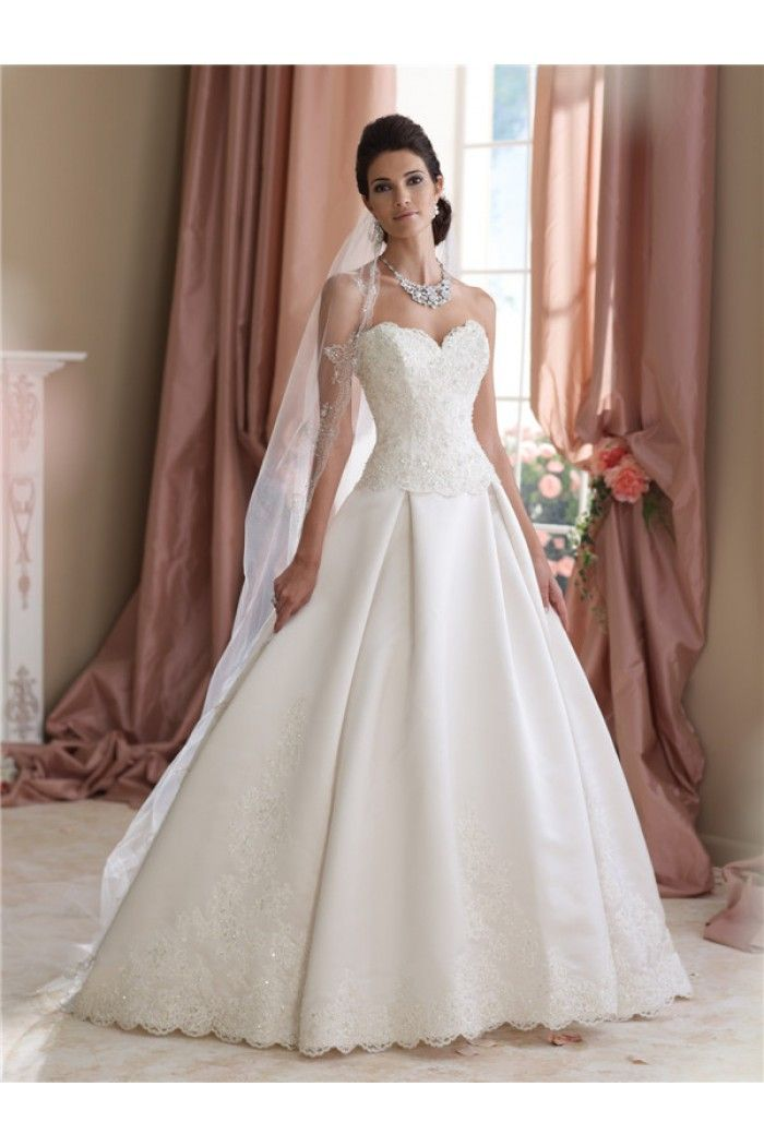 Fantastic Ball Gown Sweetheart Draped Satin Lace Wedding Dress With ...
