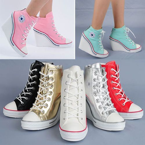ef55f79defb2aa Wedges Trainers Heels Sneakers Platform High Hi Top Ankles Lace Ups Zip  Boots Topánky Na Opätkoch