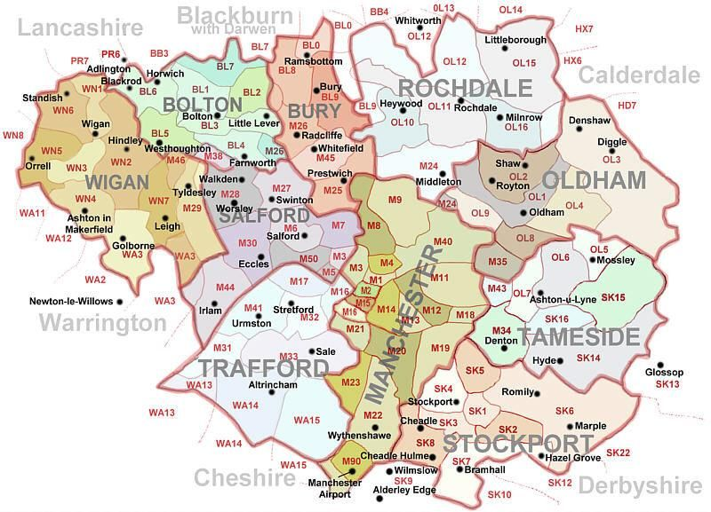 Image detail for -Postcodes Map of Greater Manchester UK | Wish list ...