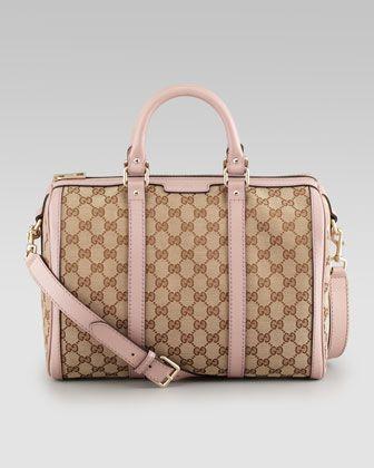 598d7f3e1a8e Love PINK❤ Boston Medium Vintage Web Bowler Bag by Gucci at Neiman Marcus.
