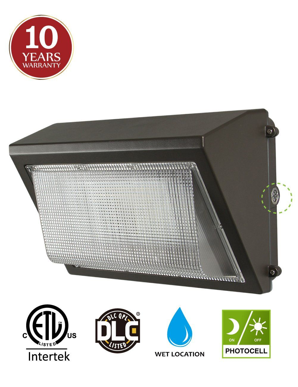 Led wall pack with dusk to dawn photocell 60w waterproof outdoor commercial lighting fixture 200 300w hps mh replacement 5000k 7200lm 100 277vac 10 year