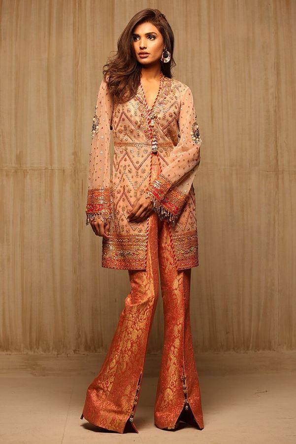 ad1c079af Latest Pakistani Dresses Styles Pairing Bell Bottom Pants 2018-19 ...