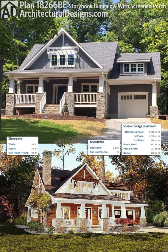 Plan 18266BE: Storybook Bungalow With Screened Porch   Craftsman ...