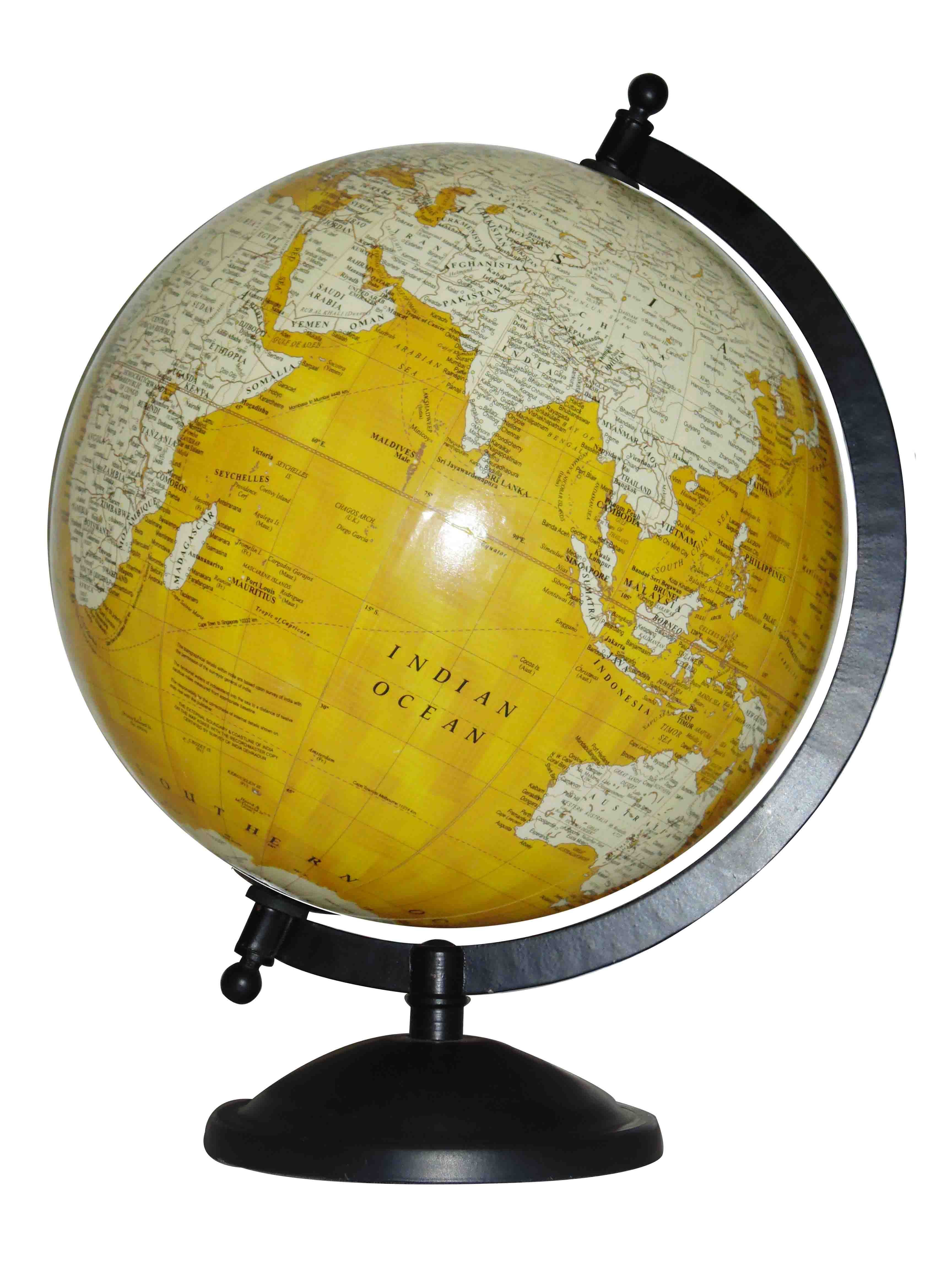 An antique styled world globe in youthful yellow ocean colour it an antique styled world globe in beautiful beige ocean colour it has a plastic globe ball of inches diameter with black metal finish base of inches gumiabroncs Images