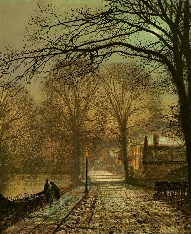 A moonlit country road, 1877, John Atkinson Grimshaw. (1836 - 1893)