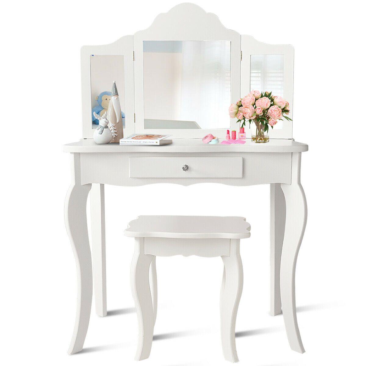 Costway Vanity Table Set Makeup Dressing Table Kids Girls Stool Mirror Walmart Com Vanity Table Set Mirrored Vanity Table Vanity Table