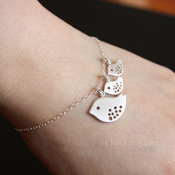 Bird bracelet STERLING SILVER family bracelet mother and by chiky, $26.00  @Autumn - it matches your necklace!