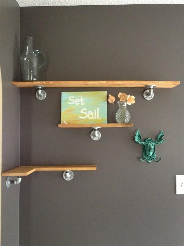 Interesting DIY Floating Corner Shelves With Pecan Wooden Material Feat 1  Long Shelves And 1 Small Part 62