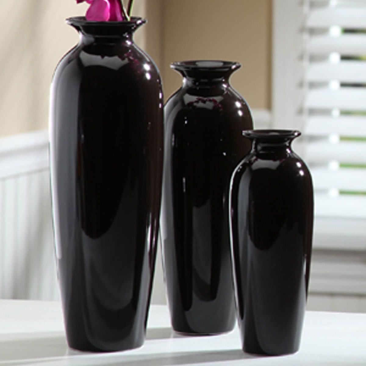 Hosley ceramic vase set black large medium small indiana usa elegant