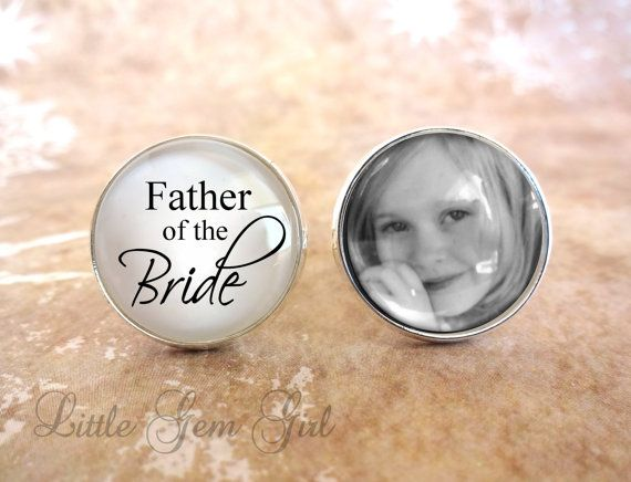 Father of the bride gift FATHER of the BRIDE Cuff Links Photo Cuff Links Father of the Bride Cufflinks Wedding Cufflinks