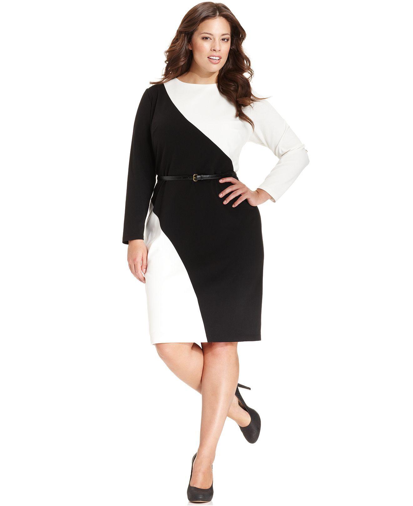 Calvin Klein Plus Size Dress Long Sleeve Colorblock Belted Sheath