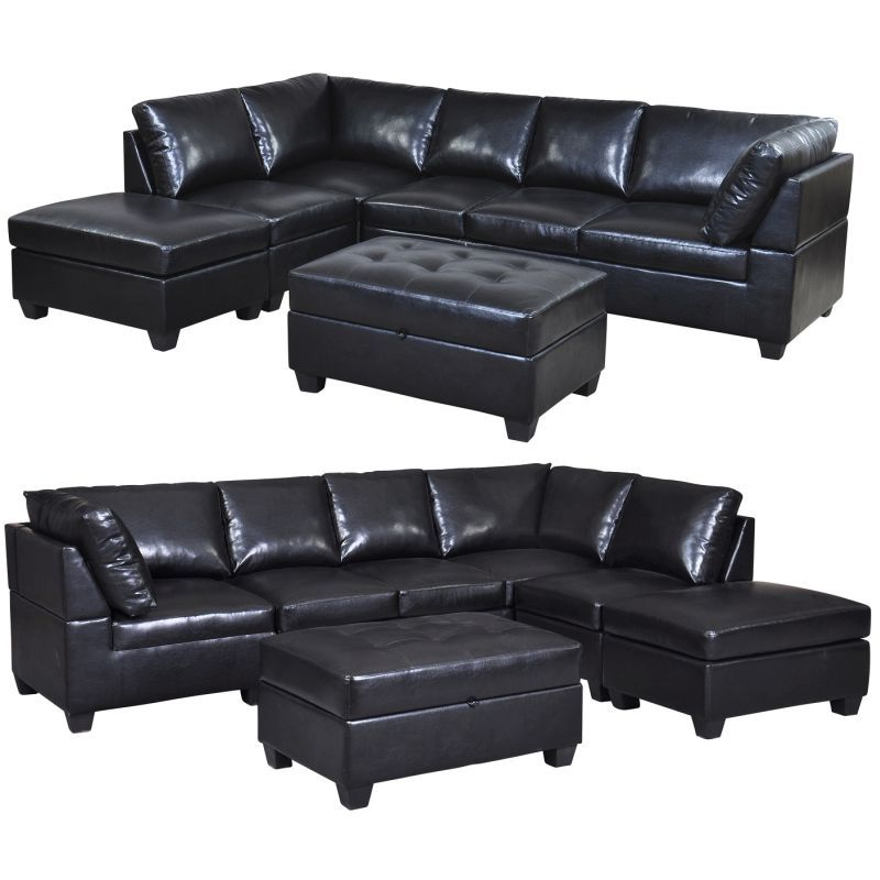 2 8m Pu Leather Lounge Suite Couch Sofa Ottoman Set Ottoman Sofa