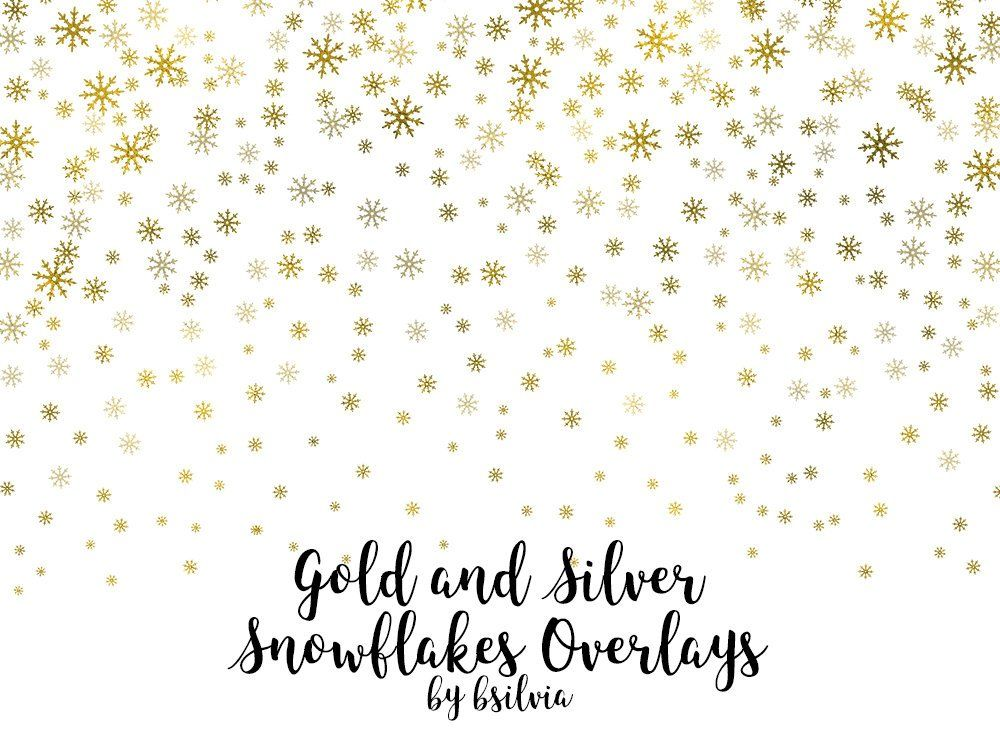 Gold And Silver Snowflakes Confetti Overlays Gold Snowflakes Etsy Winter Overlays Photo Overlays Overlays Transparent