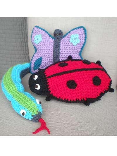 Crochet A Ladybug Snake And Butterfly Pillow Toy Haken Amigurumi