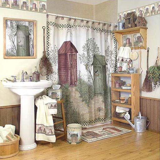 Outhouse Shower Curtain | Country Shower Curtian | Primative Bath Decor