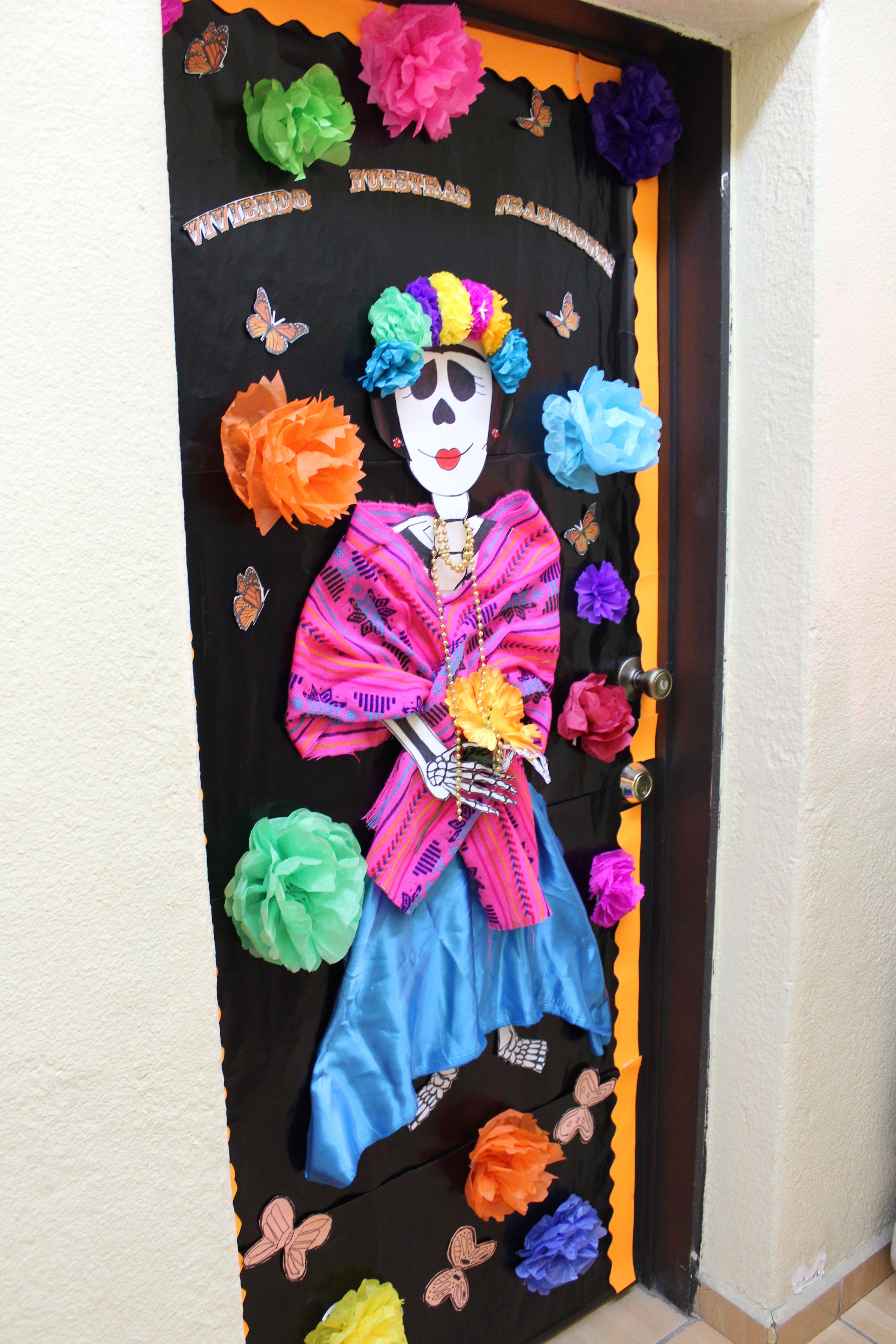 Dia de muertos puertas decoradas school die day dia de for Decoracion de puertas de dia de muertos