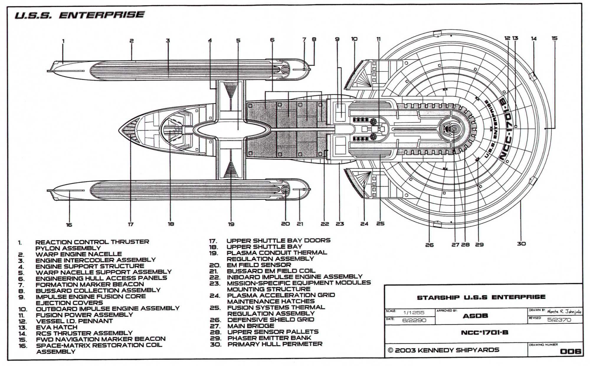 Dorsal side schematic of the Excelsiorclass Enterprise