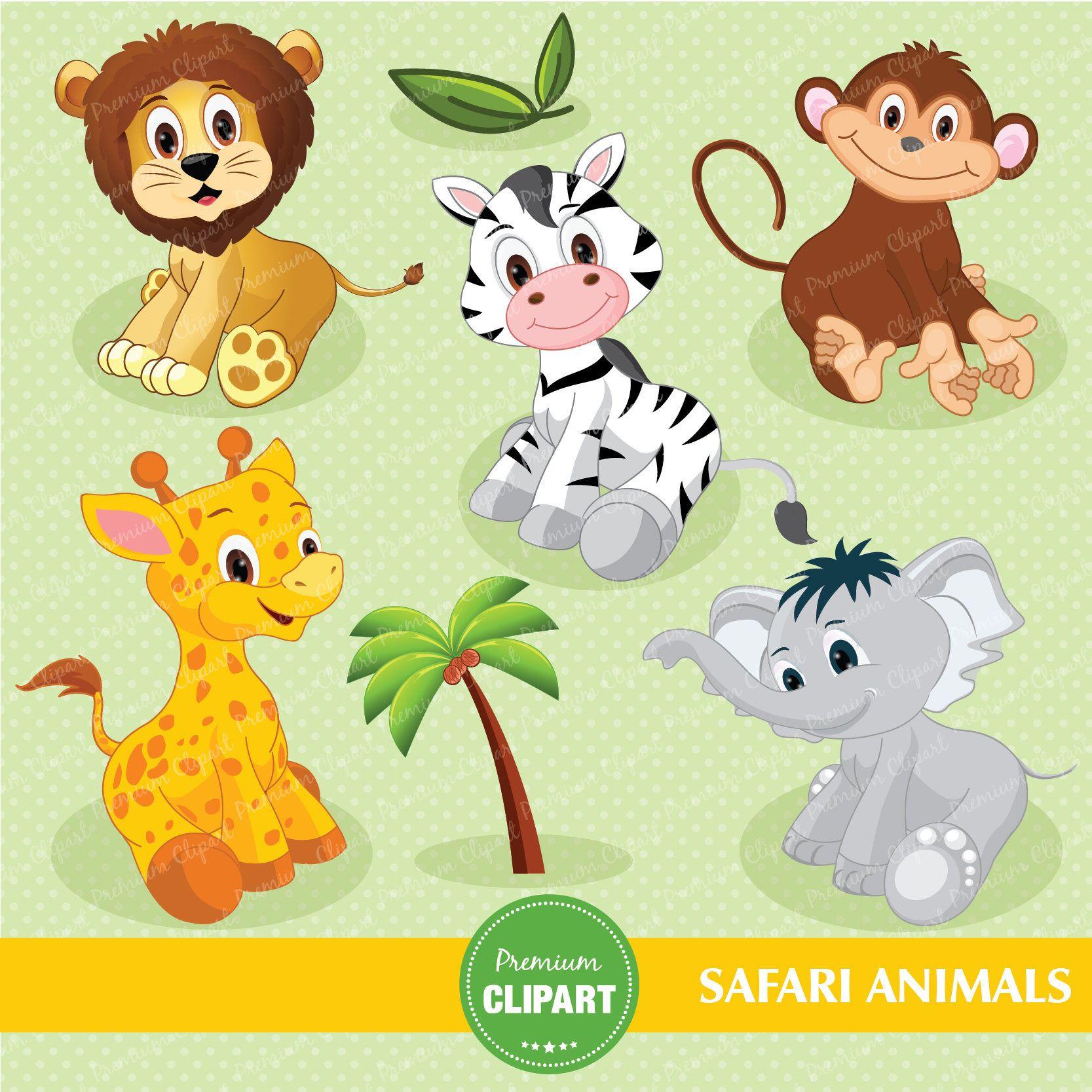 Safari Animals Digital Clipart Jungle Clip Art Baby Shower Clipart Nursery Clipart Jungle Animals Clipart Ca138 Baby Jungle Animals Safari Baby Animals Baby Animals