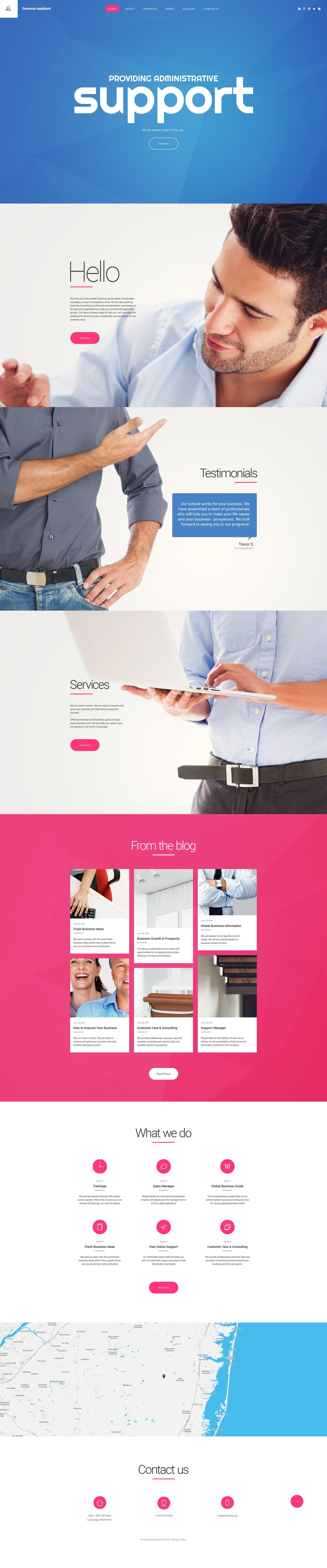 Personal Assistant Website Template Website Template Modern