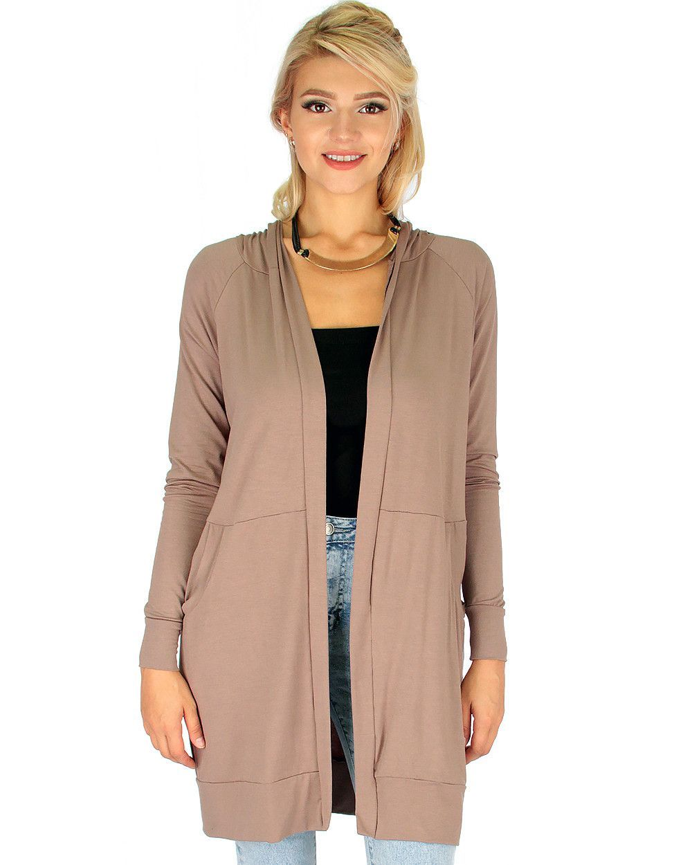 Long-Line Hooded Cardigan With Pockets In Taupe | Products, Taupe ...