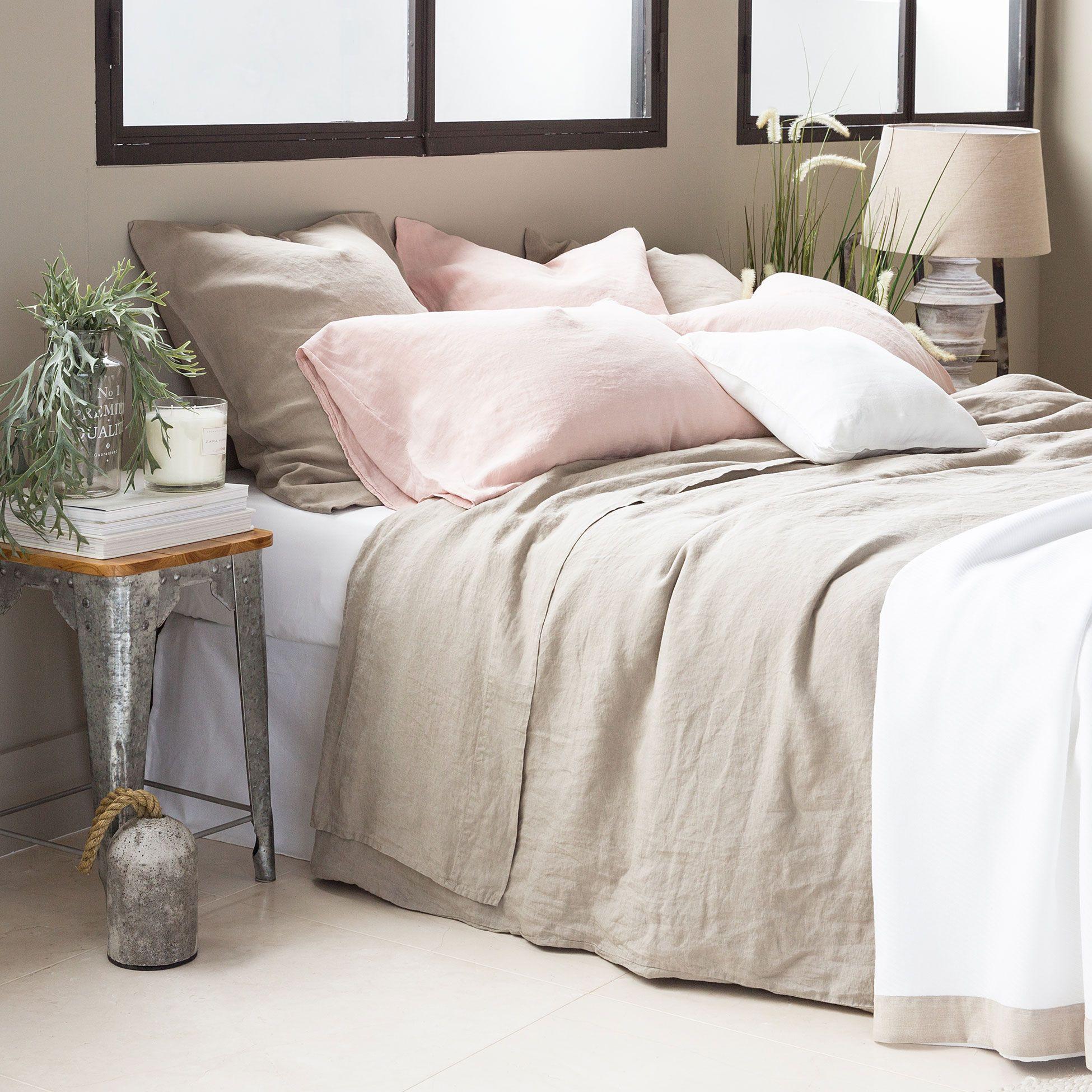 S banas y fundas lino color khaki zara camas y espa a - Sabanas sheridan espana ...