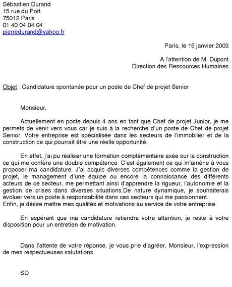 Exemple Lettre De Motivation Fongecif Reconversion: Exemple De Candidature Spontanée