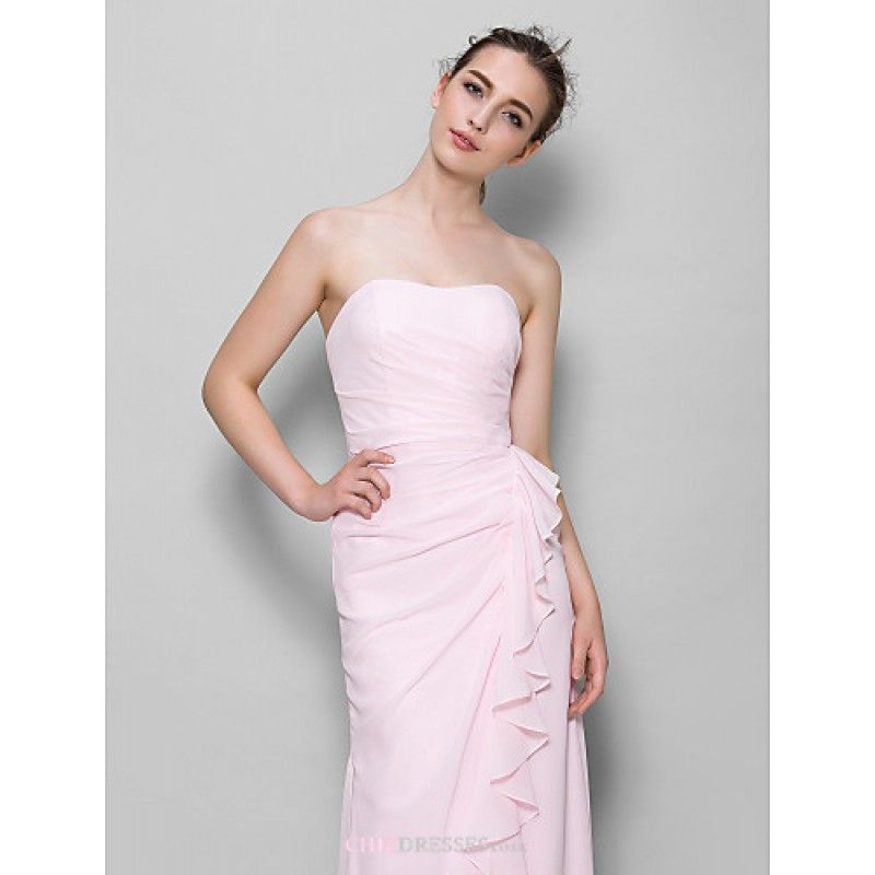 Straps Sheath Ankle Length Nude Pink Chiffon Bridesmaid