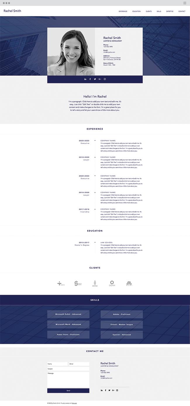 Professional Cv Website Template Wix Templates Wix Website Templates Website Template