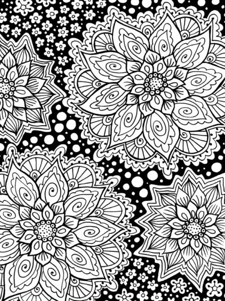 Mindful Flowers adult colouring