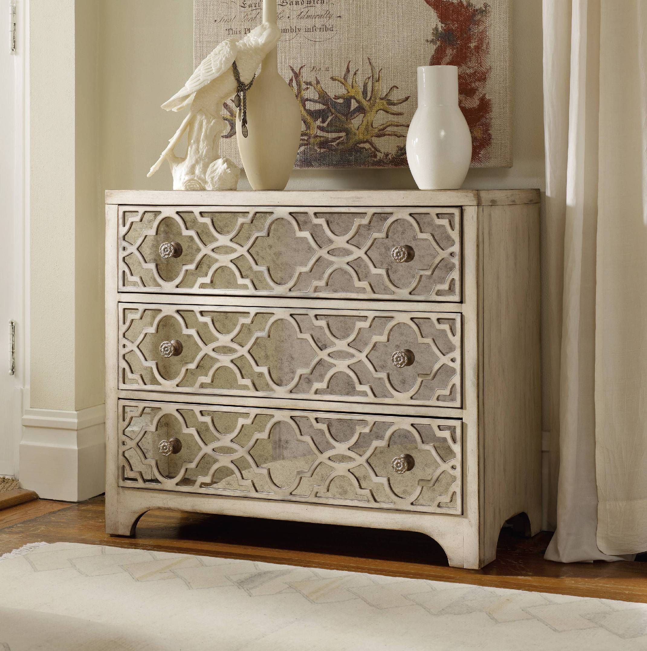 Awesome Hooker Furniture Living Room Sanctuary Fretwork Chest Pearl Essence  3023 85001