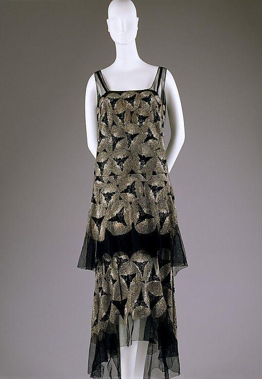 Dress  Date: ca. 1928 Culture: American or European Medium: cotton, glass