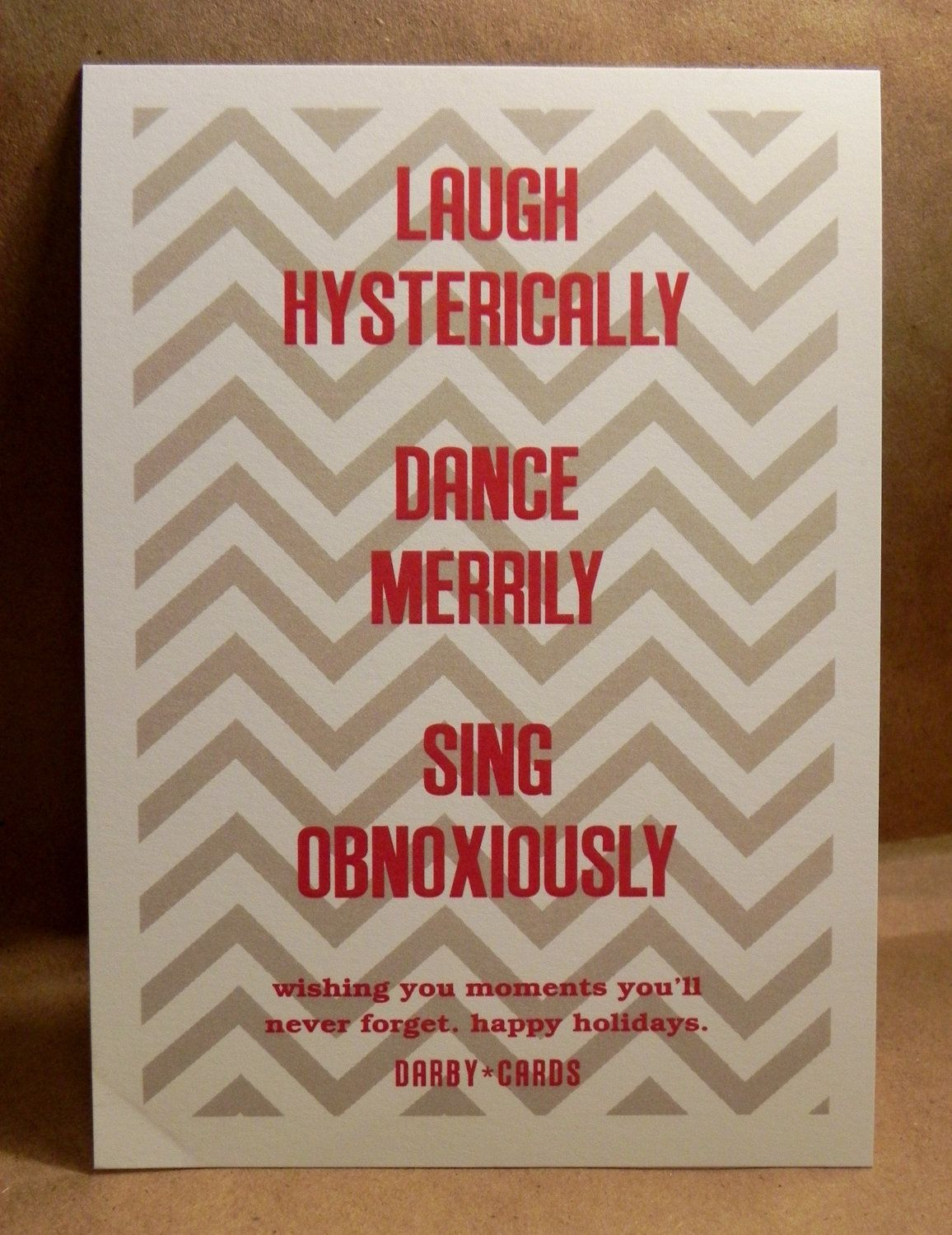 Cheeky Funny Chevron Printed Holiday Invitation Custom
