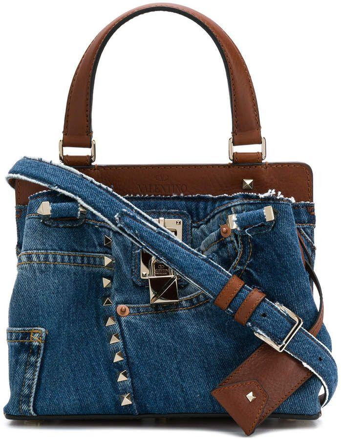 e1077beb646c Valentino denim embellished shoulder bag