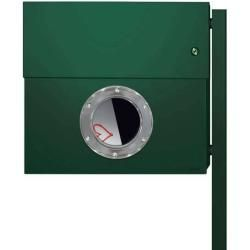 Photo of Radius Design Letterman Xxl letterbox dark green (ral 6005) with bell in green with post in Bri