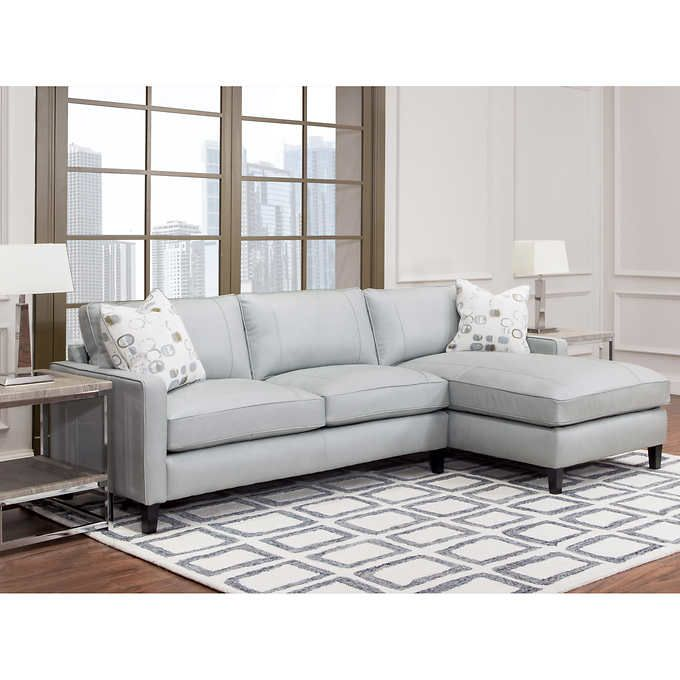 Griffith Top Grain Leather Sectional Gray  sc 1 st  Pinterest : top grain leather sectionals - Sectionals, Sofas & Couches