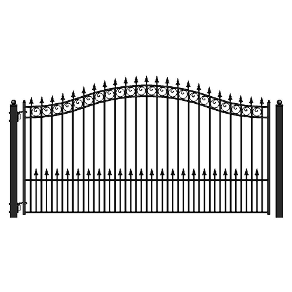 Aleko Prague Style 18 Ft X 6 Ft Black Steel Single Swing Driveway Fence Gate Dg18prassw Hd The Home Depot Wrought Iron Driveway Gates Wrought Iron Gate Wrought Iron Gate Designs