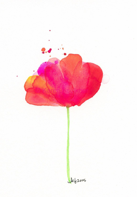 Original Watercolor Flower Painting Splashy Pink Red And Orange