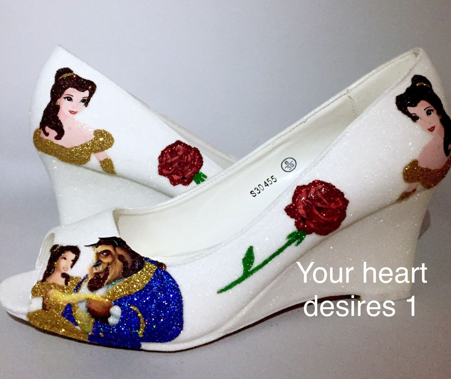 Beauty and the beast pastel Disney wedding prom cosplay shoes by yourheartdesires1 on Etsy https://www.etsy.com/uk/listing/468374646/beauty-and-the-beast-pastel-disney