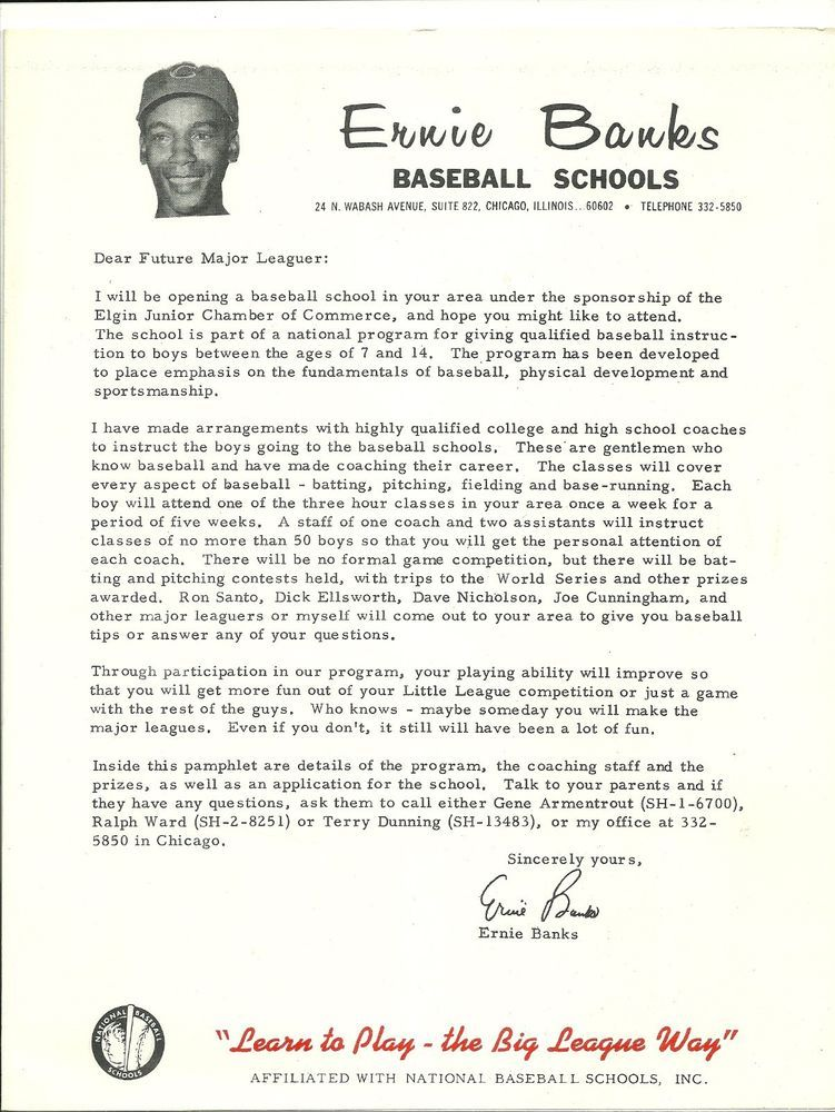 c 1964 ERNIE BANKS BASEBALL SCHOOL LETTER \/ Application Facsimile - what is a letter of application