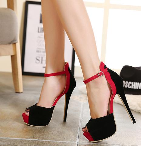 01516520d16 Womens Stylish Peep Toe Ankle Strap Stiletto High Heels