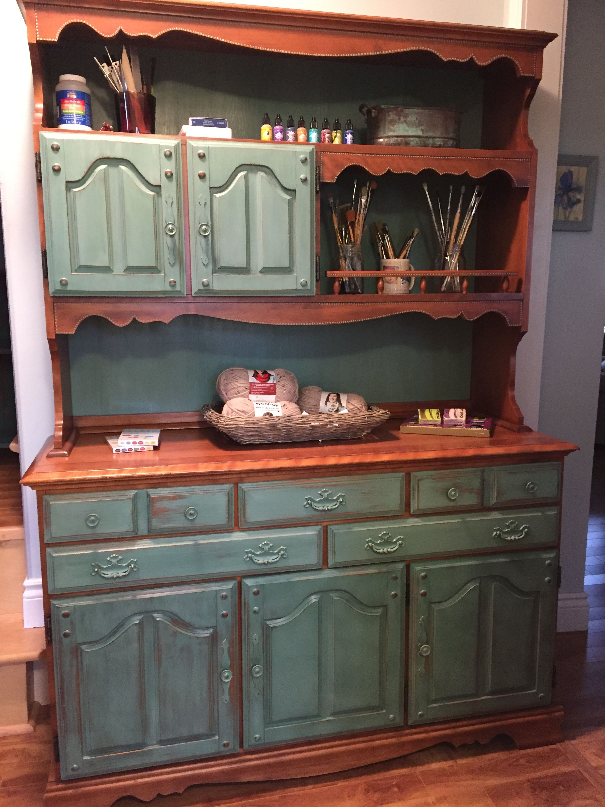 China Cabinet Painted And Used As Art Craft Supply Cupboard Painted And Distressed Using Rustoleum C Painted China Cabinets Rustoleum Chalk Paint Casual Decor