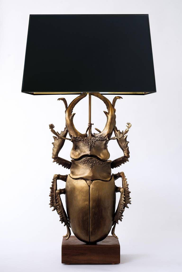 Staghorn beetle sculpture table lamp beetles lights and staghorn beetle sculpture table lamp geotapseo Choice Image