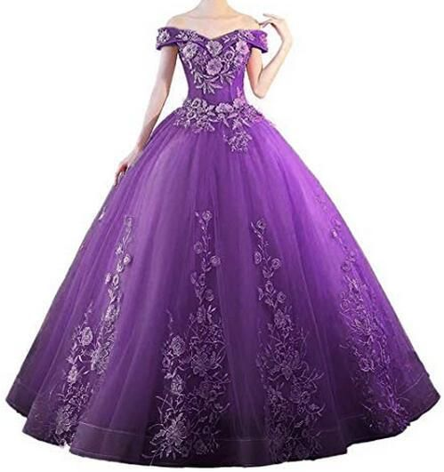Look Terrific in Tulle - Beautiful Ball Gown With Lace Appliques (Multiple Colors)